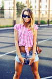Beautiful stylish girl posing outdoor.  Stock Image