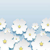 Beautiful stylish greeting card with 3d flowers sakura Royalty Free Stock Image