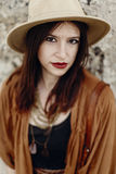 Beautiful stylish hipster woman in hat portrait, sensual look. b Stock Photography