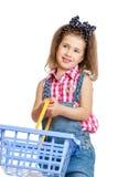 Beautiful, stylish little girl in denim overalls Royalty Free Stock Photo