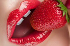 Beautiful and stylish red lips. Royalty Free Stock Photos