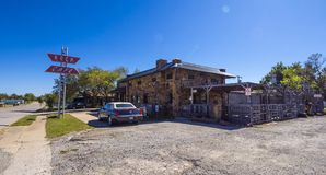 Beautiful and stylish Rock Cafe at Route 66 in Oklahoma - STROUD - OKLAHOMA - OCTOBER 16, 2017. Photography Royalty Free Stock Images