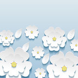 Beautiful stylish wallpaper with 3d flowers sakura Stock Images