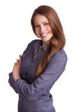 Beautiful stylish woman in a blue shirt Royalty Free Stock Photography