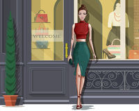 Beautiful stylish woman with boutique facade background. royalty free illustration