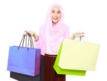 Beautiful stylish woman holding shopping bags in both hands Royalty Free Stock Photography