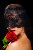 Beautiful, stylish woman wearing a black lace veil Royalty Free Stock Image