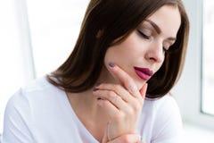Beautiful stylish woman wearing jewelry. Closeup shoot of beautiful stylish woman wearing a set of jewelry stock image