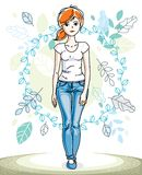 Beautiful stylish young red-haired woman posing on background of. Spring landscape and wearing different casual clothes. Vector nice lady illustration Royalty Free Stock Photography