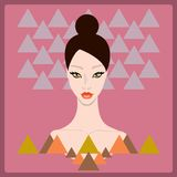 Beautiful stylish young woman face on dark pink background with triangle geometric shapes. Style of 80s. Disco trend.Fashion model hand drawn design element Vector Illustration
