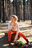 Beautiful stylish Young woman outdoors in the forest Stock Photo
