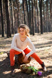 Beautiful stylish Young woman outdoors in the forest Stock Images