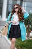 Beautiful stylish young woman on street. Royalty Free Stock Image