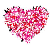 Flower heart. Beautiful stylized  heart from red and pink little flowers Royalty Free Stock Images