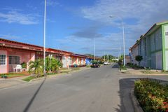 Beautiful suburban street in Cumana city. State Sucre in Venezuela royalty free stock photography