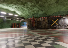 The beautiful subway station Kungstradgarden in Stockholm Stock Images