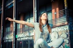 Beautiful success aviator woman Stock Images