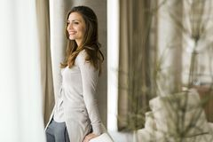 Beautiful and successful brunette  posing in front of a window Royalty Free Stock Images