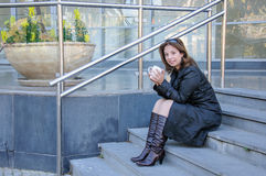 Beautiful successful businesswoman having a coffebreak Royalty Free Stock Photography