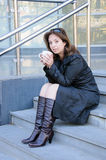 Beautiful successful businesswoman having a coffebreak Royalty Free Stock Photos