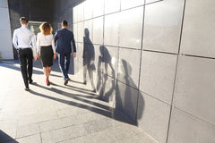 Beautiful successful people, two guys and girl, young businessme Stock Photography