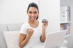 Beautiful successful woman home shopping with her notebook Stock Photo