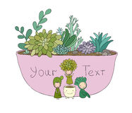 Beautiful succulents in pot. Little fairy. Royalty Free Stock Photos