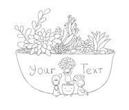 Beautiful succulents in pot. Little fairy. Hand drawing  objects on white background. Vector illustration. Coloring book Stock Image