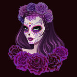 Beautiful sugar skull woman illustration. Day of dead illustration. Royalty Free Stock Photography