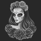 Beautiful sugar skull woman illustration Day of dead Stock Image