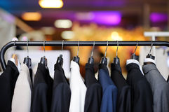 Beautiful suits on a hanger Royalty Free Stock Photography