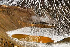 Beautiful sulphide water with mirror reflection of the snow covered volcano, detail view of Mount Ngauruhoe, New Zealand stock images