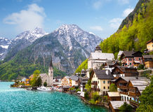 Beautiful summer Alpine Hallstatt Town Stock Photo