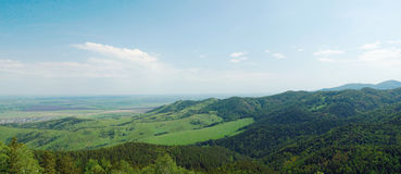Beautiful summer alpine panorama with green wooded mountains Stock Photo