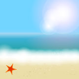 Beautiful summer background with beach, sea, sun. And palm tree Vector illustration vector illustration