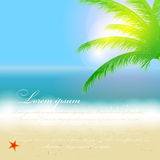 Beautiful summer background with beach, sea, sun. And palm tree Vector illustration stock illustration