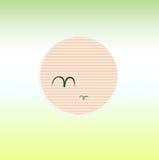 Beautiful summer beach green Sunset with sun. Sunset on summer Sky. Vector cartoon Illustration Stock Photos
