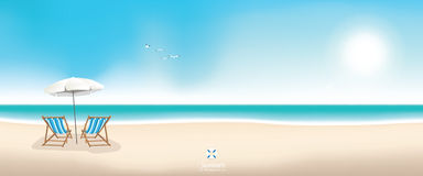 Beautiful summer beach panoramic vector background Royalty Free Stock Photos