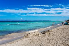 Beautiful summer beach with turquoise water in Alcudia. Mallorca Royalty Free Stock Images