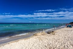 Beautiful summer beach with turquoise water in Alcudia, Mallorca. Spain Stock Photography