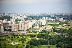 Beautiful summer bird`s eye view of Krasnogorsk. In Moscow region of Russia stock photo