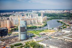 Beautiful summer bird`s eye view of Krasnogorsk. In Moscow region of Russia royalty free stock image