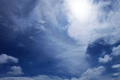 Beautiful Summer Blue Sky with White Clouds, Cloudscape Background Royalty Free Stock Photo