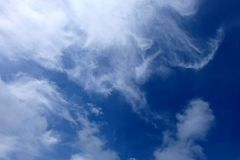 Beautiful Summer Blue Sky with White Clouds, Cloudscape Background Stock Photos