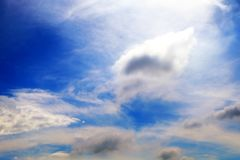 Beautiful Summer Blue Sky with White Clouds, Cloudscape Background Royalty Free Stock Photos