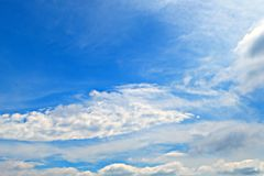 Beautiful Summer Blue Sky with White Clouds, Cloudscape Background Royalty Free Stock Image