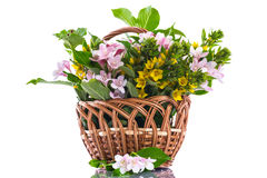 Beautiful summer bouquet in a wicker basket Royalty Free Stock Photo