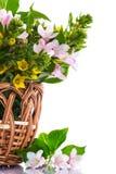 Beautiful summer bouquet in a wicker basket Royalty Free Stock Photo