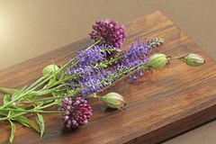 A beautiful summer bouquet, wildflowers, wild onions, Veronica long-leaved violet on a wooden background of black walnut. Minimalism. Beautiful summer royalty free stock photo