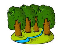 Beautiful summer cartoon landscape with trees and river. royalty free illustration